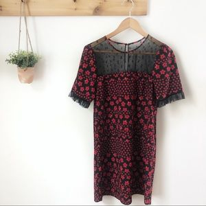 BCBGeneration Red Floral Lace Dress